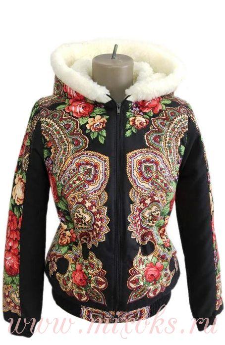 """Куртка из платков с мехом """"Бусинка"""""""